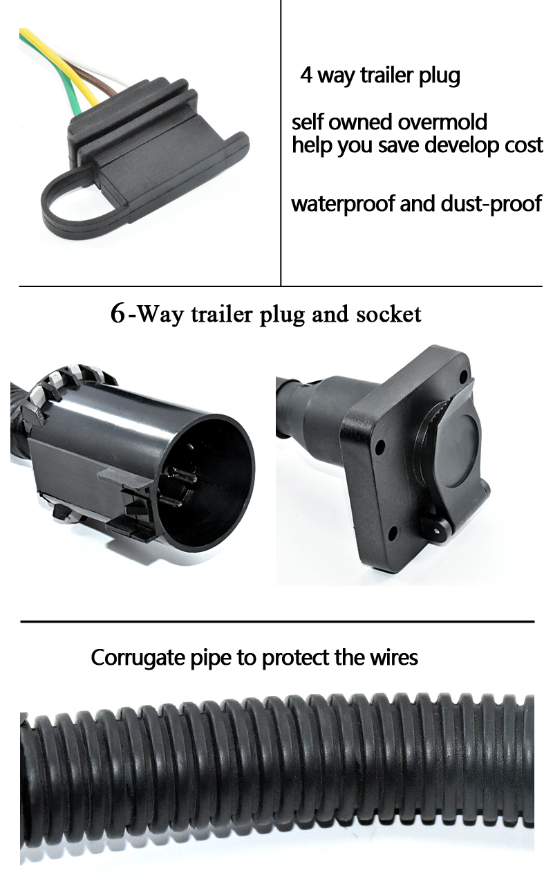 cannon plugs wire harness 6 way round trailer plug to 4 way flat trailer plug adapter  trailer plug adapter