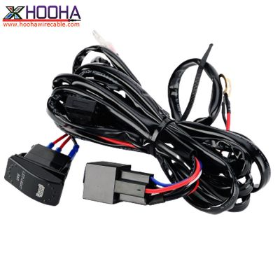 custom wire harness,Automotive Wire Harness,LED light wire harness,rocker switch,ON-OFF Switch,OFF-Road
